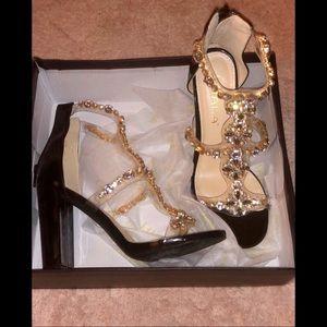 Jeweled flower Patent heels